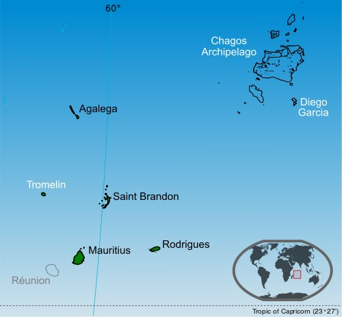 Mauritius and the Chagos archipelago. Mapwork: Wikipedia Commons, featured in Africa PORTS & SHIPS