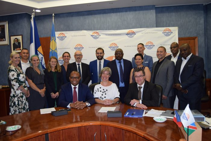 Representatives of the visiting French Port of Dunkerque and from the Namibian Ports Authority (Namport) after the signing of a MoU at Walvis Bay on Thursday, reported in Africa PORTS & SHIPS