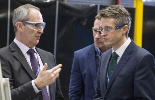 UK Secretary of State for Defence, Gavin Williamson MP (right), visiting Rolls-Royce's facility in Raynesway, Derby on 25 February. Seen here with Rolls-Royce's Steve Dearden (left), President (Submarines). Defence Secretary Williamson awarded a £235m contract to support nuclear propulsion systems and revealed the name of the third Dreadnought submarine. Photo: MoD Crown Copyright 2019 ©, featured in Africa PORTS & SHIPS