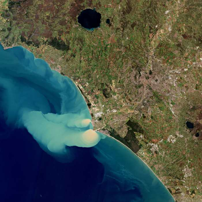 Roman sediment plume at sea. Photo Credit: Id 417156 Title Sediment plume at sea. Released 25/02/2019 10:49am. Copyright contains modified Copernicus Sentinel data (2019), processed by ESA, CC BY-SA 3.0 IGO ©, featured in Africa PORTS & SHIPS
