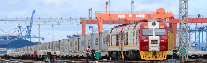Kenya Standard Gauge Railway container train under the gantry at Mombasa container terminal