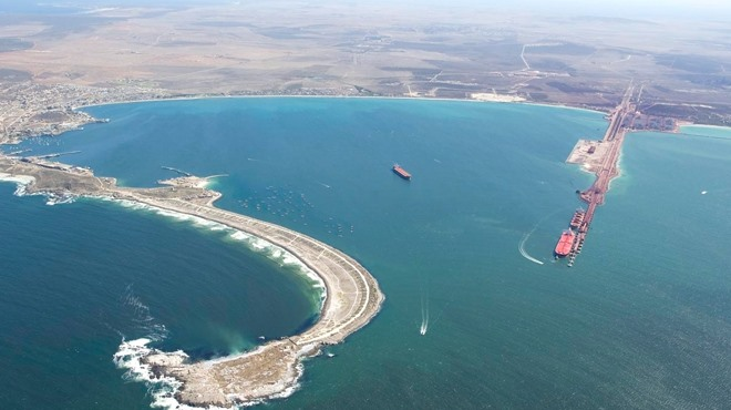 Saldanha Bay from the air, featured in Africa PORTS & SHIPS