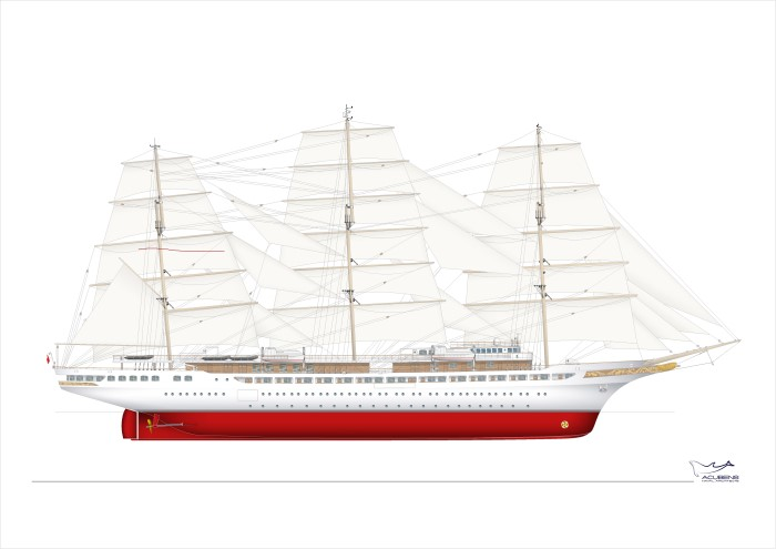 Design study of Sea Cloud Spirit. Source: Acubens, featured in Africa PORTS & SHIPS