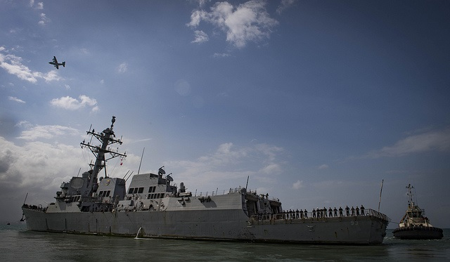 Photographed in Djibouti on 28 January the Arleigh Burke-class guided-missile destroyer USS Chung-Hoon (DDG 93) departs the port and naval base, following a scheduled port visit during exercise Cutlass Express. Chung-Hoon is deployed to the US 5th Fleet area of operations in support of naval operations to ensure maritime stability and security in the Central Region, connecting the Mediterranean and the Pacific through the western Indian Ocean and three strategic choke points. US Navy photo by Mass Communication Specialist 1st Class Ryan U Kledzik/Released. USN ©, featured in Africa PORTS & SHIPS