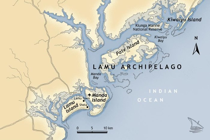 Map of Lamu archipelago courtesy Lamu Holiday Homes, featured in Africa PORTS & SHIPS
