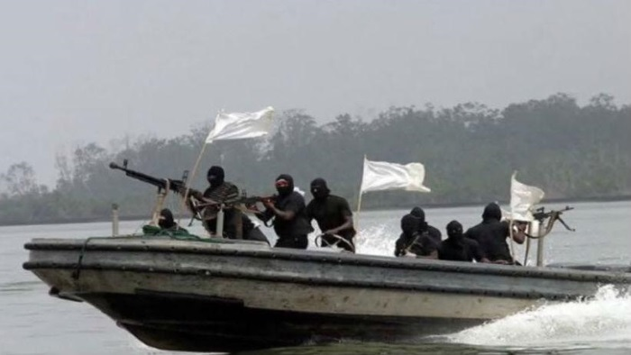 Nigerian pirates in their speedboat, featured in Africa PORTS & SHIPS