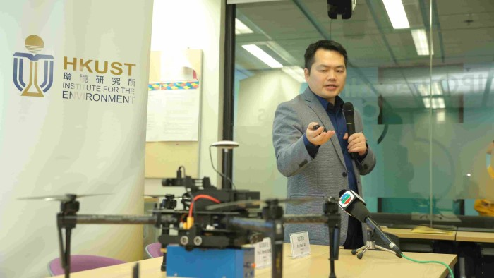 Professor Zhi Ning from HKUST explains how drones can be used to monitor clean fuel use by the shipping sector. Picture courtesy HKUST, featured in Africa PORTS & SHIPS