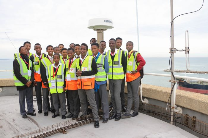 The gathering of young men at the Port of PE (Port Elizabeth) featured in Africa PORTS & SHIPS