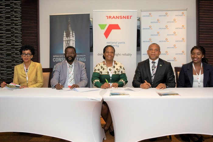 At the signing of the MOU were (left to right) Transnet Board Member Ramasela Ganda, Buffalo City Manager Andile Sihlahla, Transnet National Ports Authority Acting Chief Executive and Chief Operating Officer Nozipho Mdawe, CEO of East London IDZ Simphiwe Kondlo and East London Port Manager Sharon Sijako, featured in Africa PORTS & SHIPS