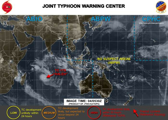 Cyclone Haleh Indian Ocean 4 March 2019, featured in Africa PORTS & SHIPS