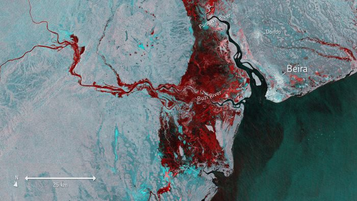 Millions of people in Mozambique, Malawi and Zimbabwe are struggling to cope with the aftermath of what could be the southern hemisphere's worst storm: Cyclone Idai. This image is from Copernicus Sentinel-1 and shows the extent of flooding, depicted in red, around the port town of Beira in Mozambique on 19 March. It is understood that this mission is also supplying imagery through the Copernicus Emergency Mapping Service to aid relief efforts. Id 418453; Title Floods imaged by Copernicus Sentinel-1; Released 20/03/2019 1141 am; Copyright contains modified Copernicus Sentinel data (2019), processed by ESA, CC BY-SA 3.0 IGO. ESA ©, from a feature article in Africa PORTS & SHIPS