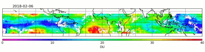 Global tropospheric ozone. Tropospheric ozone between January 2018 and January 2019 measured by the Copernicus Sentinel-5P mission. Ozone lower down in the atmosphere – in the troposphere – is an air pollutant and a greenhouse gas contributing to global warming. It is difficult to measure because of its short lifespan and because concentrations can vary hugely from place to place. The unprecedented spatial resolution offered by Copernicus Sentinel-5P's Tropomi instrument means that the complex relationship between tropospheric ozone and climate can be better understood. Released 04/03/2019 5:50 pm; Copyright contains modified Copernicus data (2018–19), processed by DLR.ESA © Featured in Africa PORTS & SHIPS