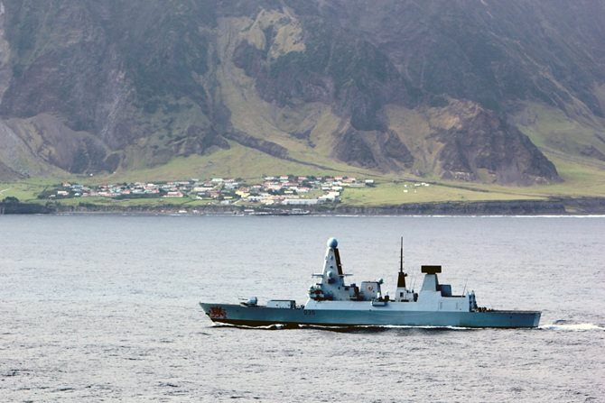 HMS Dragon off the island of Tristan da Cunha, featured in Africa PORTS & SHIPS