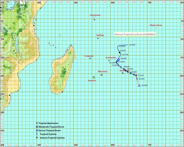 Cyclone Joaninha's likely track, featured in Africa PORTS & SHIPS maritime news