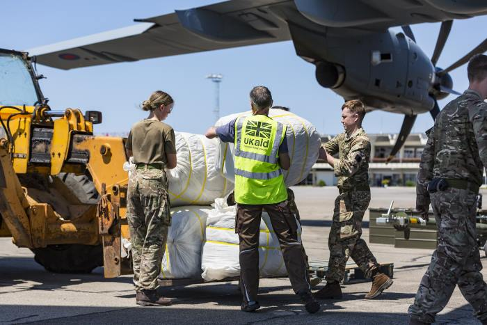 Aid being offloaded from an RAF Airbus aircraft at Beira airport, featured in Africa PORTS & SHIPS maritime news