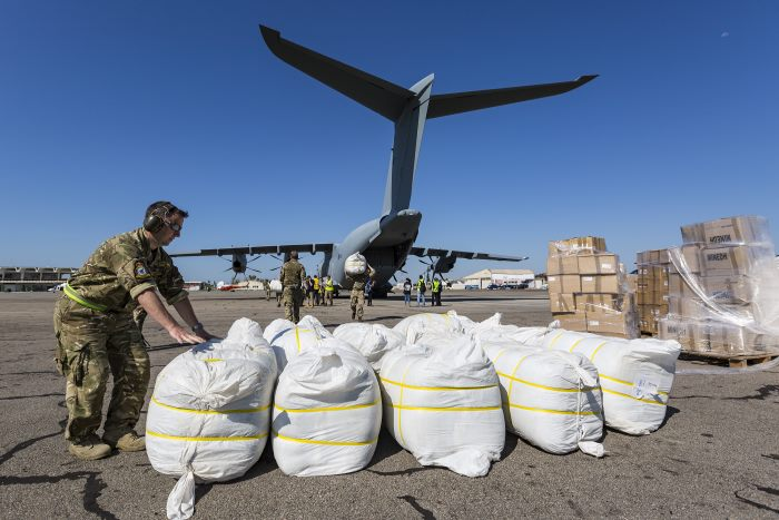 Over 20 tons of aid flown in by the RAF, featured inAfrica PORTS & SHIPS maritime news