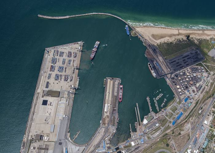 Aerial view of PE harbour with blue ship at the tanker berth. Picture: TNPA, featuring in Africa PORTS & SHIPS maritime news