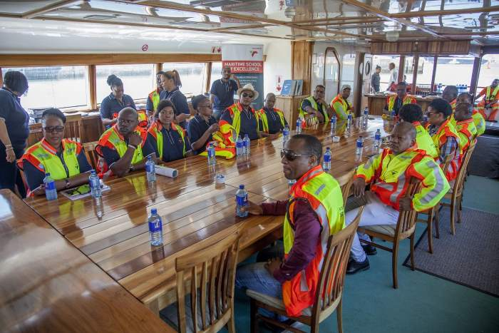 Relaxing on board the Port of Durban's harbour launch Isiponono, featured in Africa PORTS & SHIPS
