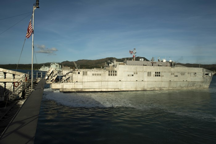 Seen here the Military Sealift Command (MSC) expeditionary fast transport ship USNS Brunswick (T-EPF 6) departs Naval Base Guam, passing USNS Fall River (T-EPF 4) and marking the start of Pacific Partnership 2019. Pacific Partnership, the 14th exercise in a series is the largest annual multinational humanitarian assistance and disaster relief preparedness mission conducted in the Indo-Pacific region. Each year the mission team works collectively with host and partner nations to enhance regional interoperability and disaster response capabilities, increase security and stability in the region, and foster new and enduring friendships in the Indo-Pacific. US Navy photo by Mass Communication Specialist 1st Class Nathan Carpenter/Released, USN ©, Freatured in Africa PORTS & SHIPS