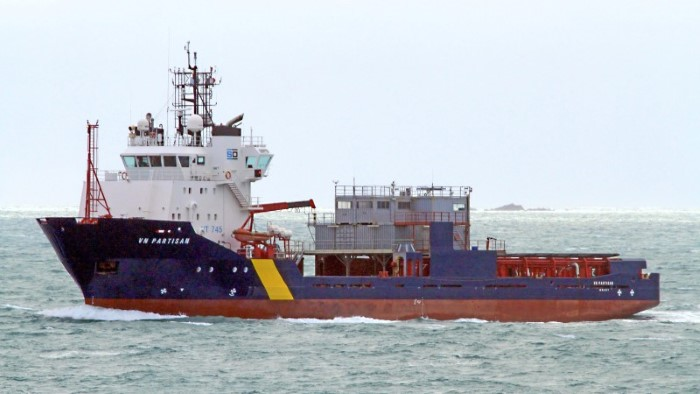 The platform supply vessel VN PARTISAN which carries equipment for the mechanical collection of an oil slick. Picture courtesy Shipspotting, featured in Africa PORTS & SHIPS