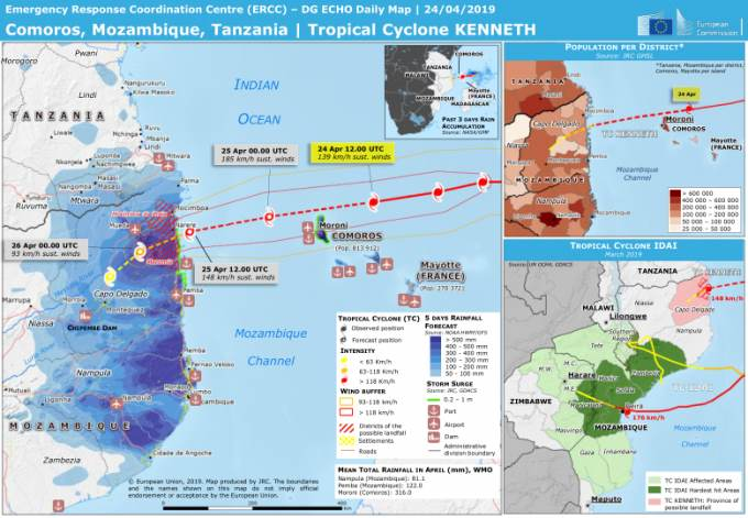 Cyclone Kenneth's path across Mozambique Channel to where she comes ashore in Mozambique today, featured in Africa POIRTS & SHIPS maritime news online