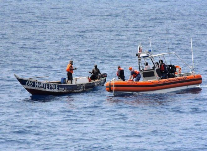 Coast Guardsmen assigned to USCGC Thetis (WMEC-910) approach a stranded fishing vessel to render assistance in the Gulf of Guinea on March 14, 2019. US Coast Guard picture, featured in Africa PORTS & SHIPS maritime news online