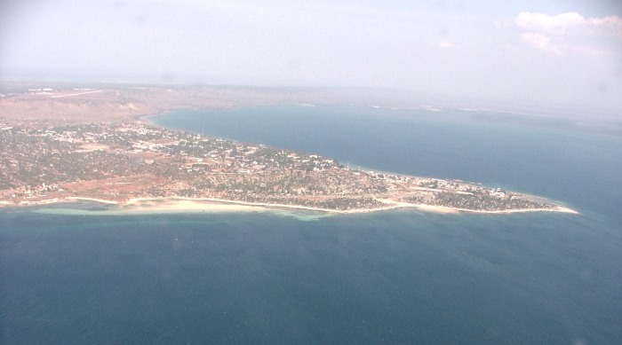 Aerial view of the town of Pemba, with the large expanse of deep water bay on the far side. Picture by Terry Hutson, featured in Africa PORTS & SHIPS maritime news online