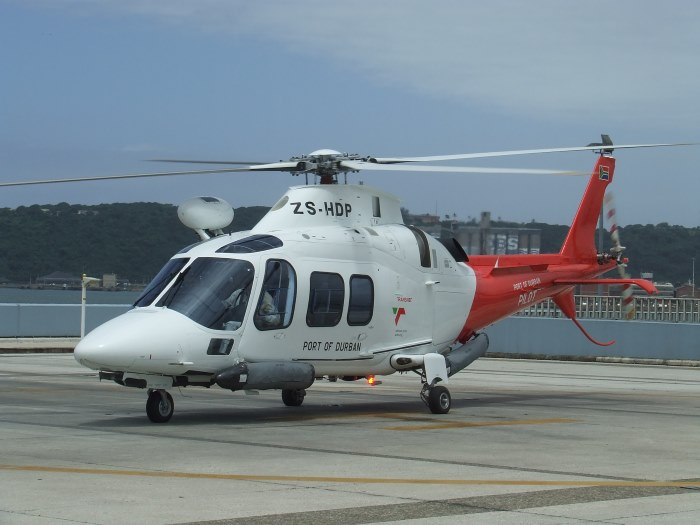 One of the earlier versions (Feb 2010) of the AgustaWestland 109 helicopters which is based at Durban. Picture: Terry Hutson, featured in Africa PORTS & SHIPS maritime news online