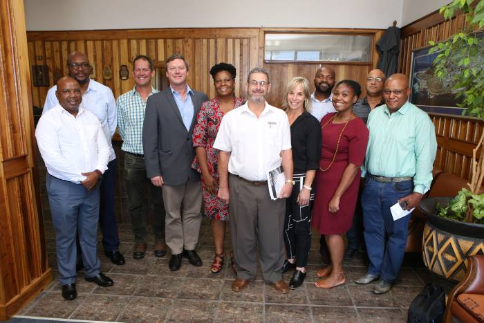 Mossel Bay Port Manager Shadrack Tshikalange; TNPA GM: Corporate Affairs & External Relations Moshe Motlohi; Gert Ludick of TNPA; Executive Deputy Mayor - Mossel Bay Municipality, Cllr Dirk Kotze; TNPA COO / Acting CE Nozipho Mdawe; Municipal Manager - Mossel Bay Municipality, Adv Thys Giliomee; CEO of Afrishore, Shirley Schmidt; Port of Mossel Bay Customer Relationship & Corporate Affairs Manager Sithembiso Soyaya; Port of Mossel Bay Acting Senior Operation Manager, Vuyokazi Sabani; Port of Mossel Bay Acting Property Manager, Errol Baartman and PetroSA Operations Manager Michael Nene, appeaing in article in Africa PORTS & SHIPS maritime news
