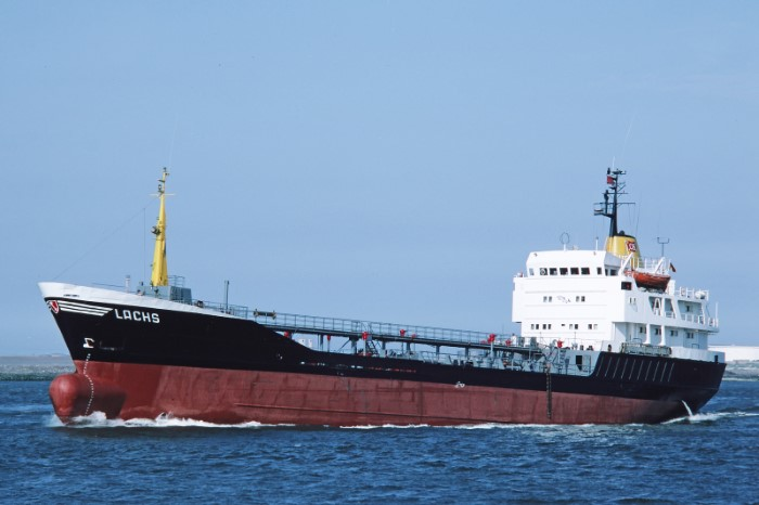 The tanker APECUS photographed by Mike Griffiths, courtesy of Shipspotting, while operating previously with the name LACHS. The tanker was built in 1973., featured in Africa PORTS & SHIPS maritime news online