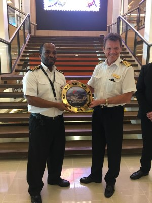 While welcoming the ship, Cape Town Harbour Master Captain Alex Miya presented a plaque to the ship's master, Captain Olav Soevdsnes., featured in Africa PORTS & SHIPS maritime news online