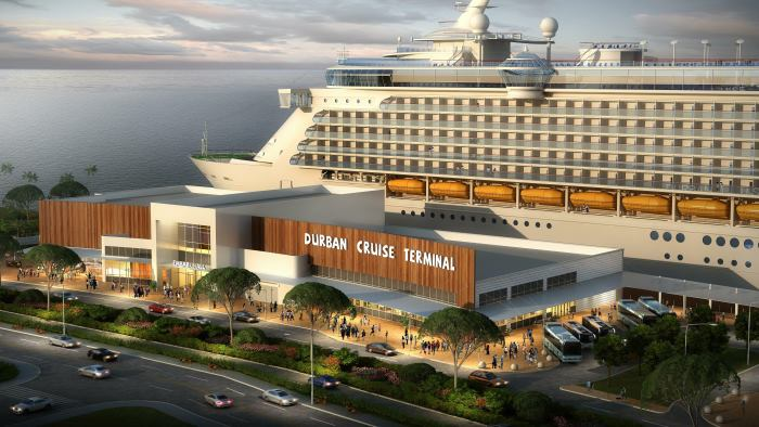 Artist's drawing of the future new Durban cruise terminal, due for opening in 2020 - featured in Africa PORTS & SHIPS maritime news online