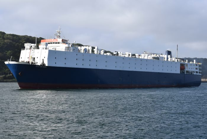Livestock carrier EKEVATION sailing from Durban after taking bunkers. Picture by Trevor JOnes, featured in Africa PORTS & SHIPS maritime news