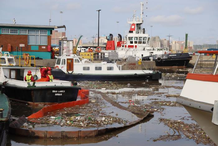 The Port of Durban has been badly affected by the large volume of waste and vegetation flowing into port waters after the recent heavy rains and flooding, featured in Africa PORTS & SHIPS maritime news online