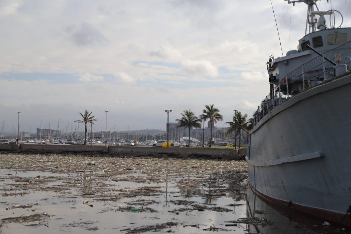 Clean-up teams are working hard to clear the debris. That's SAS Durban on the right, at the Maritime Museum, featured in Africa PORTS & SHIPS maritime news online