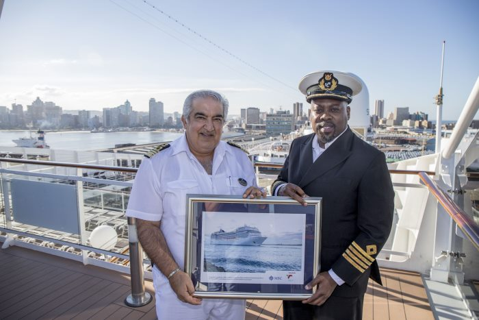 Durban Harbour Master, Captain Sabelo Mdlalose of TNPA presented a gift to MSC Musica master, Captain Ciro Pinto, to bid a temporary farewell to the ship and to mark the close of the cruise season for the Port of Durban and South Africa as a whole, featured in Africa PORTS & SHIPS maritime news online