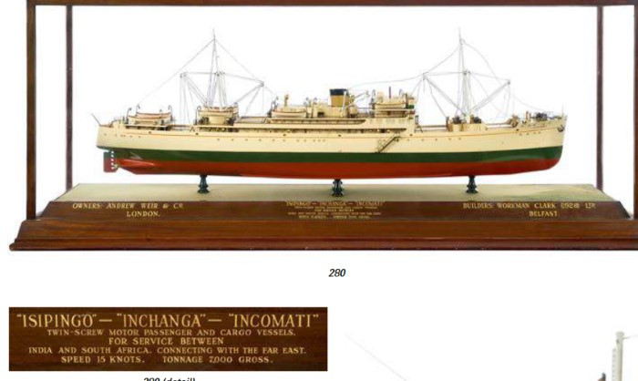 Isipingo, Inchanga, Incomati Bank Line freighters model on auction featured in Africa PORTS & SHIPS maritime news online