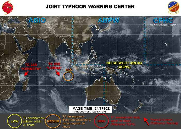 Cyclones Kenneth 24S and Lorna 25S are currently in the Indian Ocean, with Lorna out in mid ocean and posing no threat to land. Picture: JTWC, featured in Africa PORTS & SHIPS maritime news online