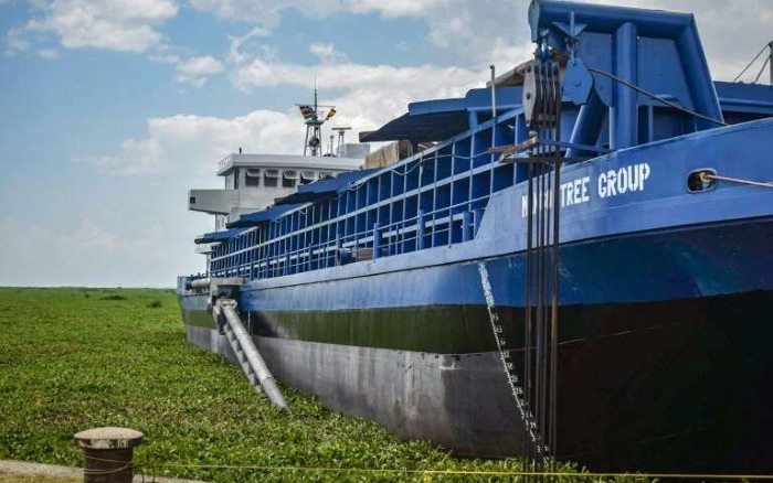 The dredger MANGO TREE has been engaged with removing some of the water hyacinth that clogs Kisumu port and large sections in other parts of the lake. The captured hyacinth is then turned into fertiliser. Picture: Mango Tree Group, featured in Africa PORTS & SHIPS maritime news online