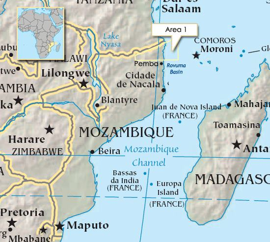 Mozambique's Block One where large deposits of gas have been discovered, and where Anadarko has a significant interest, featured in report carried in Africa PORTS & SHIPS maritime news online