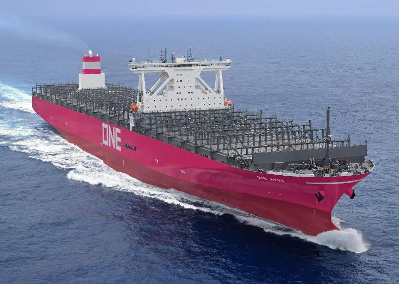 ONE Apus at sea, featured in Africa PORTS & SHIPS maritime news online