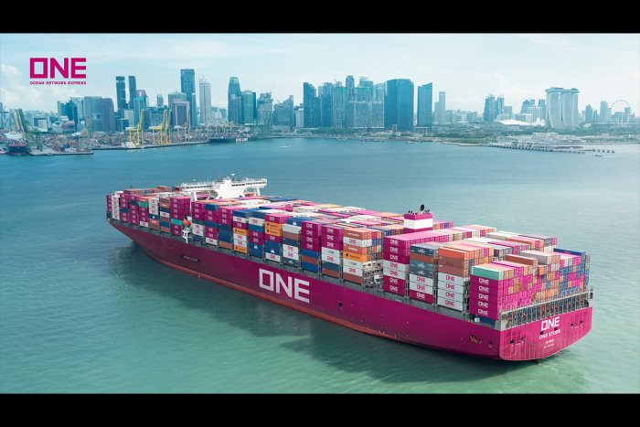 ONE container ship, featured in article about Digitalisation association formed by 4 shipping companies, featured in Africa PORTS & SHIPS maritime news online