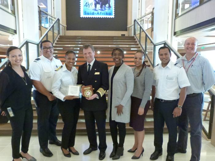The Port of East London's management team and Harbour Master, Kgadi Matlala, presented a plaque to the ship's master, Captain Olav Soevdsnes, flanked by representatives of Transnet National Ports Authority and Viking Ocean Cruises. Featured in Africa PORTS & SHIPS maritime news online