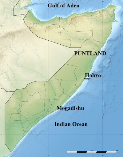 Map shoiwng Puntland in north-east Africa