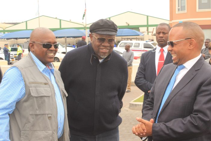 Presidents Mokgweetsi Masisi of Botswana (left), Hage Geingob of Namibia (centre) and Namport's outgoing CEO, Bisey /Uirab, featured in an article in Africa PORTS & SHIPS maritime news online