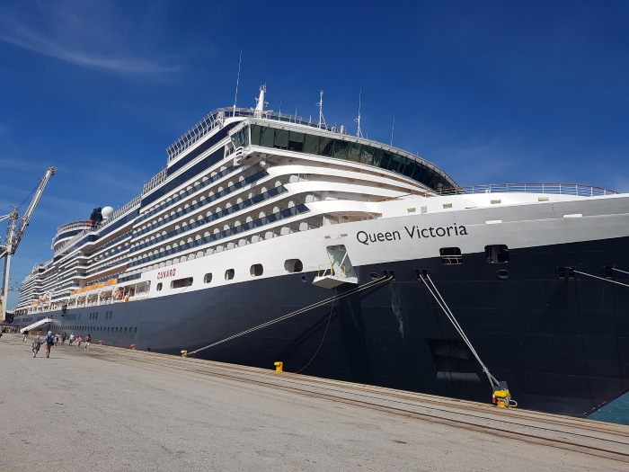 Queen Victoria at her berth in Port Elizabeth on Wednesday 11 April 2019, as featured in Africa PORTS & SHIPS maritime news