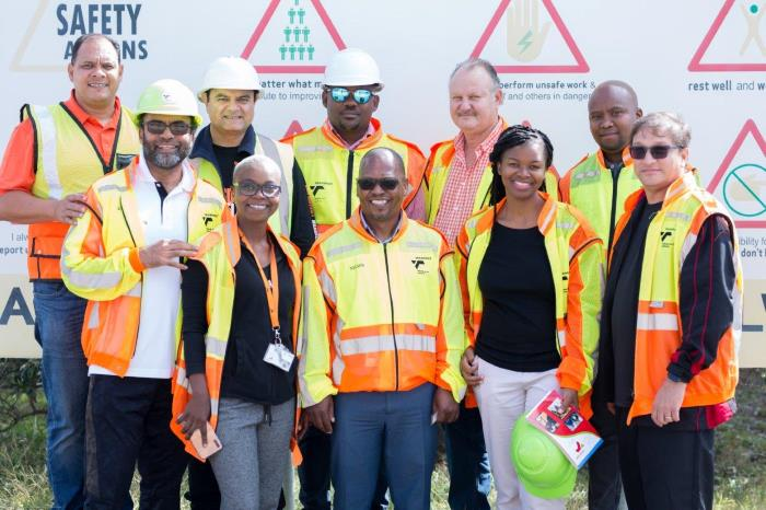 The Port of PE's management team is ready to conduct Visible Felt Leadership, which is the role management plays as change agents and facilitators of a safety culture in an organisation through observations and engagements with stakeholders, employees and customers - ensuring continuous improvement in the workplace in relation to health and safety. In the front row from the left are Faisal Sultan (Operations), Zinhle Small (Property), Nelson Masophi (Security), Zanda Mkhulisi (SHE) and Rajesh Dana (Port Manager). In the back row are from the left Captain Brynn Adamson (Harbour Master), Sujit Bhagattjee (New Business Development), Theo Sethosa (Engineering), Ian Du Preez (IT) and Xolani Ngcivana (Procurement), featured in Africa PORTS & SHIPS maritime news online