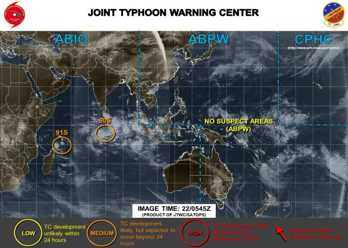 90S and 91S image credit: Joint Typhoon Warning Centre featured in Africa PORTS & SHIPS maritime news online