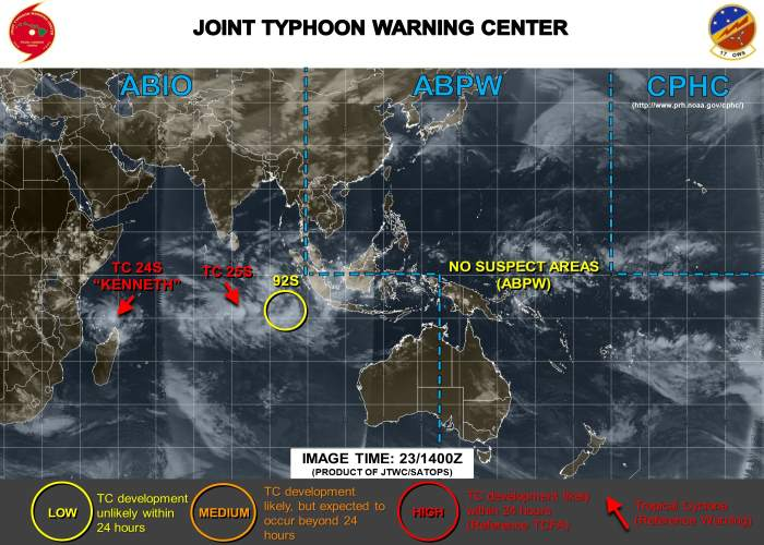 Cyclone Kenneth 25S and Cyclone 25S, source JTWC, featured in Africa PORTS & SHIPS maritime news online