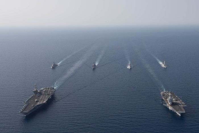 RED SEA (15 April 2019) The aircraft carrier USS John C. Stennis (CVN 74), front left, the French Marine Nationale aircraft carrier FS Charles de Gaulle (F 91), front right, the guided-missile destroyer USS McFaul (DDG 74), the guided-missile cruiser USS Mobile Bay (CG 53), the Royal Danish Navy frigate HDMS Niels Juel (F 363) and the French F70AA-class air defense destroyer FS Forbin (D 620) are underway in formation in the Red Sea, April 15, 2019. The John C. Stennis Carrier Strike Group is deployed to the U.S. 5th Fleet area of operations in support of naval operations to ensure maritime stability and security in the Central Region, connecting the Mediterranean and the Pacific through the western Indian Ocean and three strategic choke points. U.S. Navy photo by Mass Communication Specialist Seaman Joshua L. Leonard/Released), featured in Africa PORTS & SHIPS maritime news